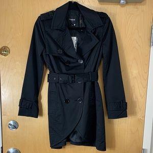Bebe Black Satin Tulip Trench Coat